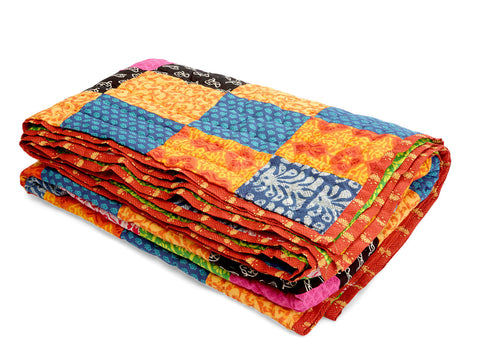 Jodhaa Single Patchwork and Printed reversable quilt / Razai   12RZSA045