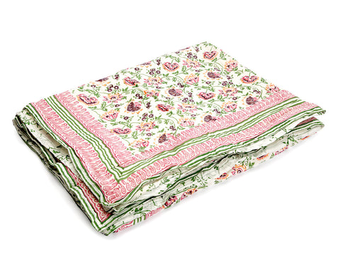 Jodhaa Singles Cotton Quilt / Razai whith Floral print in Purpal/Green/pink  12RZSA053
