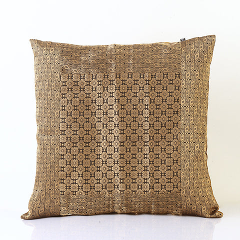 Jodhaa Cushion Cover with Brocade in Black/Gold    21CCVA011