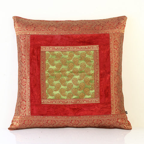 Jodhaa Cushion Cover with Velvet/Brocade in Red/Gold    21CCVA013