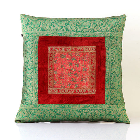 Jodhaa Cushion Cover with Velvet / Brocade in Red/Green Large  21CCVA017