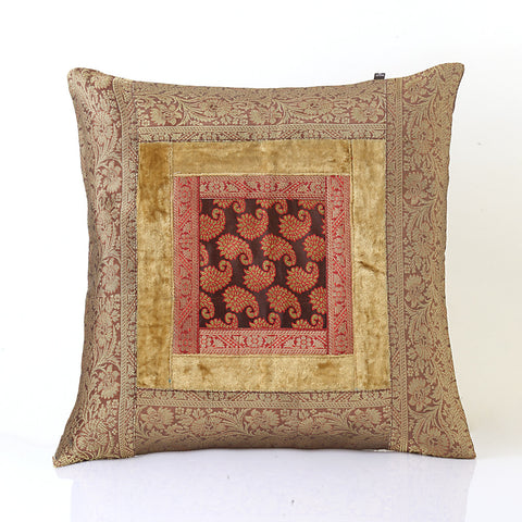 Jodhaa Cushion Cover with Velvet/Brocade in Beige/Gold  Large  21CCVA018