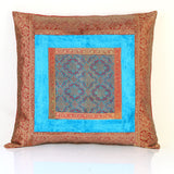 Jodhaa Cushion Cover with Velvet / Brocade in  Turquiose blue  Large  21CCVA019