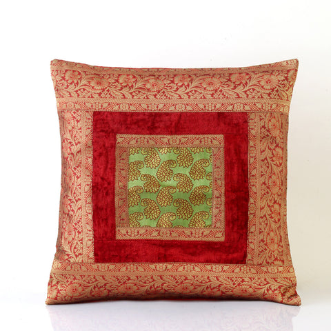 Jodhaa Cushion Cover with Velvet / Brocade in Red/Green Large  21CCVA020