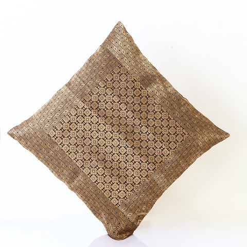 Jodhaa Cushion Cover with Brocade in Black/Gold  Large   21CCVA021