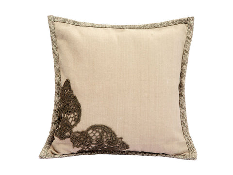 Jodhaa  Cushion Cover in Khaki Color Cotton Linen  21CCVA034