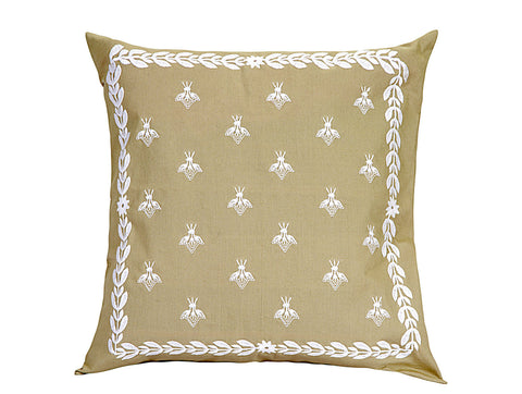 Jodhaa  Embroidered Cushion Cover in Khaki Color  21CCVA044