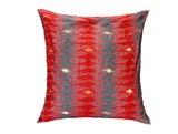 Jodhaa Large Cushion Cover in Red Color Art Silk Ikat design  21CCVA049