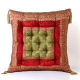 Jodhaa Cushion in Velvet and Brocade in Red / Green            21CSHA019