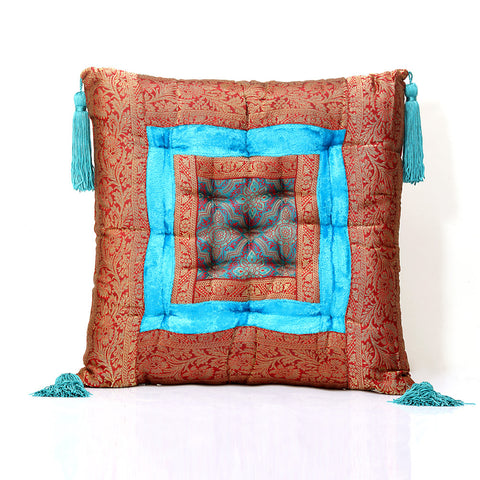Jodhaa Cushion in Velvet and Brocade in Turquiose /blue     21CSHA026