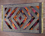 Jodhaa Floor Rug / Carpet in Velvet and Brocade in Earth Tones-Small     21FMTA018