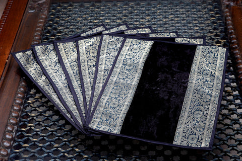 Designer Plain Black Gold Table Mats Set by Jodhaa