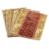 Jodhaa Table mats set of 6 in Beige and Gold   21TBMA038