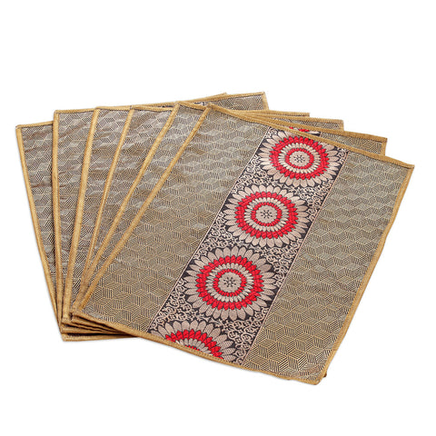 Jodhaa Table mats set of 6 in Black/ Gold/ Red   21TBMA040