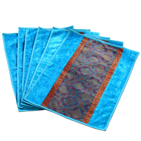 Jodhaa Table mats set of 6 in Turquoise Blue and Gold   21TBMA042