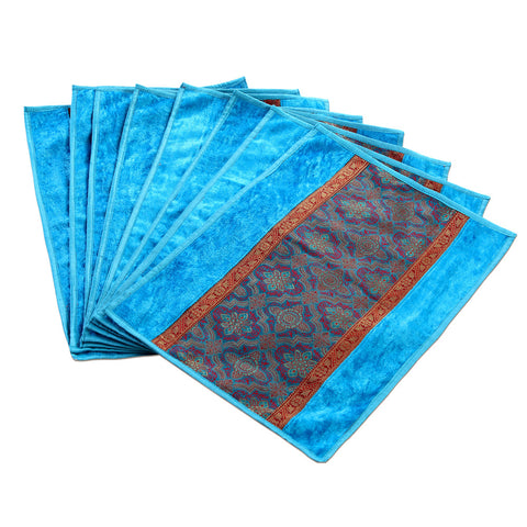 Jodhaa Table mats set of 8 in Turquoise Blue and Gold   21TBMA043