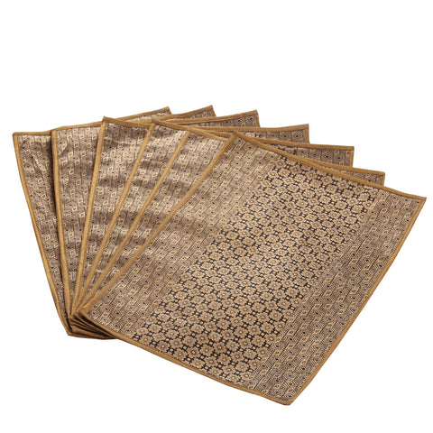 Jodhaa Table mats set of 6 in Black and Gold   21TBMA044