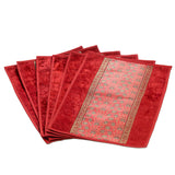 Jodhaa Table mats set of 6 in Red and Gold   21TBMA046