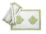 Jodhaa Table mats set of 8 in White and Green  21TBMA050