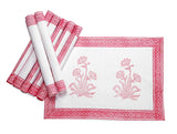 Jodhaa Table mats set of 8 in White and Pink  21TBMA051