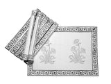 Jodhaa Table mats set of 8 in White/Grey  21TBMA054