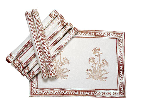 Jodhaa Table mats set of 8 in White/Brown  21TBMA055