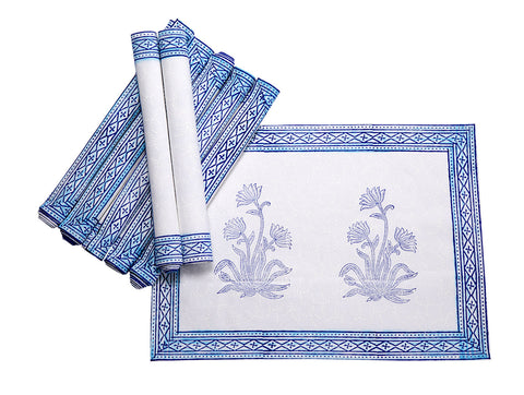 Jodhaa Table mats set of 8 in White/Blue  21TBMA057