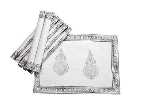 Jodhaa Table mats set of 8 in White/Grey  21TBMA058