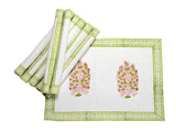Jodhaa Table mats set of 8 in White and Green  21TBMA059
