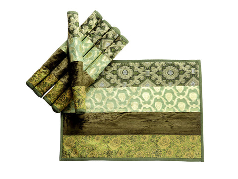 Jodhaa Table Mats Set of 6 in Velvet and Brocade in Green Color  21TBMA061
