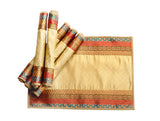 Jodhaa Table Mats Set of 6 in  Silk Brocade in Beige Gold  21TBMA065