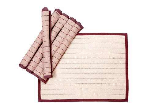 Jodhaa Table mats set of 6 in Burgandy Color  21TBMA072