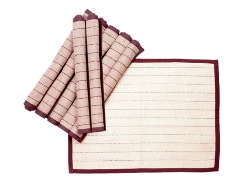 Jodhaa Table mats set of 8 in Burgandy Color  21TBMA073