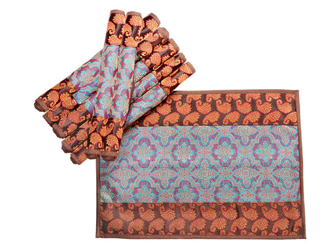 Jodhaa Table Mats Set of 8 in  Silk Brocade in Brown/Blue  21TBMA079