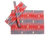 Jodhaa Table Mats in Art Silk Ikat design Set of 6 in Red Color  21TBMA080