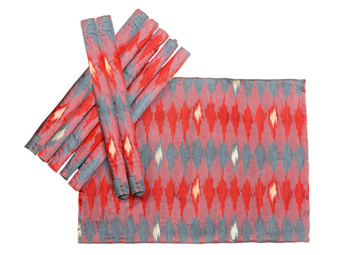 Jodhaa Table Mats Art Silk Ikat design Set of 8 in Red Color  21TBMA081