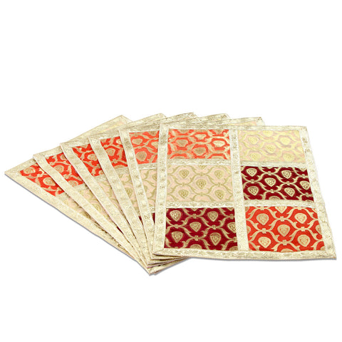 Jodhaa Table mats set of 6 in Red and Gold patch    21TBMA034