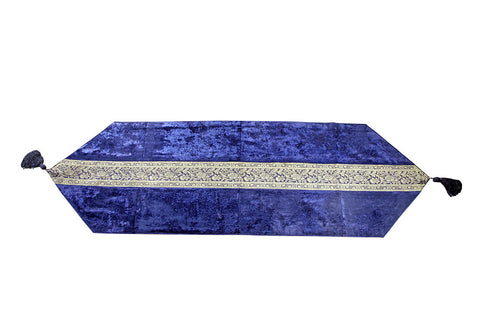 Jodhaa Table Runner in Velvet and Brocade in Royal Blue - Medium      21TBRA046