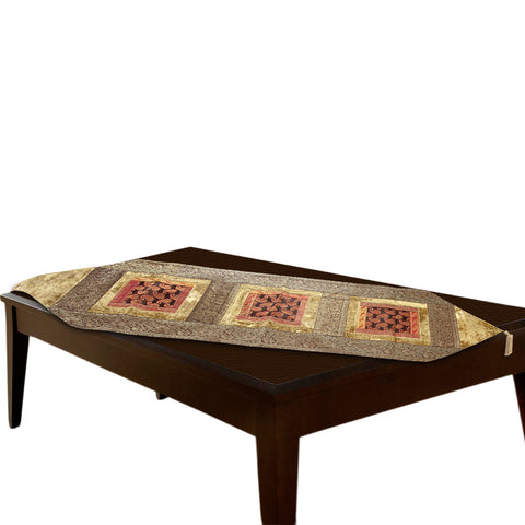 Jodhaa Table Runner in Velvet and Brocade in Beige / Gold - Large      21TBRA053