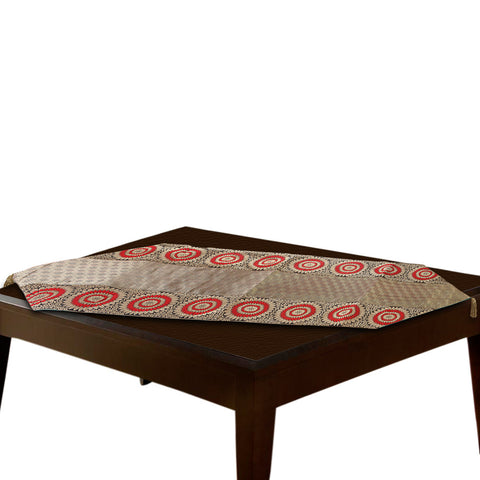 Jodhaa Table Runner in Brocade in Gold/ Red / Black - Large  21TBRA055