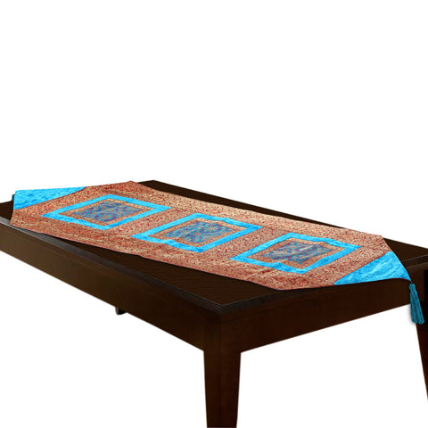 Jodhaa Table Runner in Velvet and Brocade in TURQUOISE BLUE / Gold - Large         21TBRA057