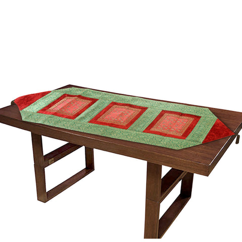 Jodhaa Table Runner in Red/ Green - Large  21TBRA061