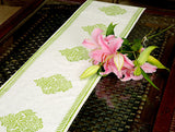 Jodhaa Printed Table Runner in Cotton in White/ Green Color- Large  21TBRA067