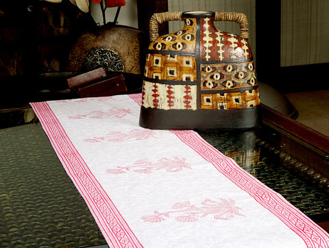 Jodhaa Printed Table Runner in Cotton in White/ Pink Color- Large  21TBRA068