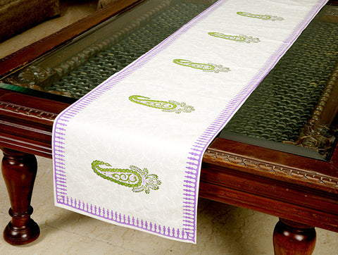 Jodhaa Printed Table Runner in Cotton in White/ Green/Purple Color- Large  21TBRA069