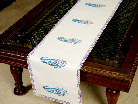 Jodhaa Printed Table Runner in Cotton in White/ Blue/Purple Color- Large  21TBRA070
