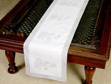 Jodhaa Printed Table Runner in Cotton in White/ Grey Color- Large  21TBRA071