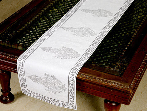 Jodhaa Printed Table Runner in Cotton in White/ Grey Color- Large  21TBRA073