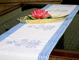 Jodhaa Printed Table Runner in Cotton in White/ Blue Color- Large  21TBRA074