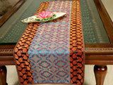 Jodhaa Table Runner in Silk and Brocade in Blue and Brown - Medium  21TBRA084
